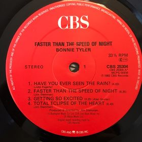 Дом Винила 2 - Bonnie Tyler – 1983 – Faster Than The Speed Of Night​​